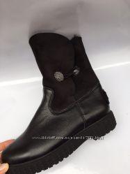 Удобрые ботинки кожаные демисезонные  с отворотом