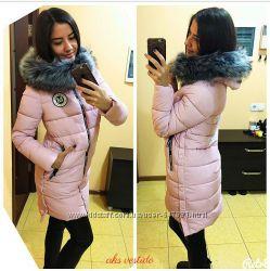 Стильная зимняя теплая  куртка с мехом