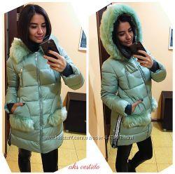 стильная зимняя куртка с мехом, Китай фабричный