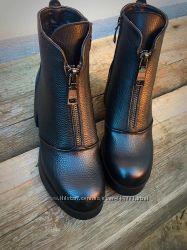 зимние ботинки на низком ходу натуральная кожа. замш