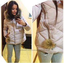 курточка зимняя, невероятно красивый цвет пудра
