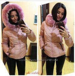 короткая красивая зимняя куртка, цвет-розовый кварц