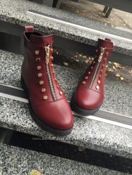 Стильные демисезонные ботинки на молнии. Натуральная кожа, замша 2 цвета