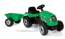 Smoby Детский трактор педальный с прицепом зеленый веломобиль GM Bull 33329