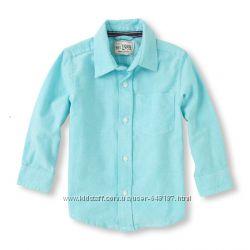 Новая рубашка для мальчика Childrens place 3T, оксфорд, голубая