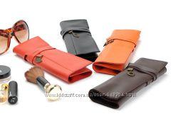LOF Стильный кожаный чехол для косметических кистей в подарочной упаковке.