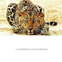 Алмазная мозаика Леопард с голубыми глазами