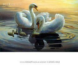 Алмазная мозаика Семья лебедей