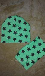 Стильний дитячий комплект шапка  хомутик