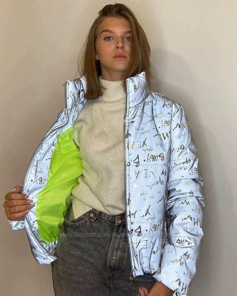 Куртка светоотражающая из рефлективной ткани с принтом буква