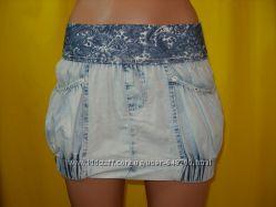 Юбка  бочонок на резинке джинс лето