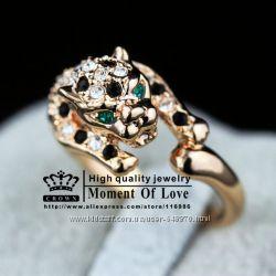 Кольцо Леопард, серги, колье