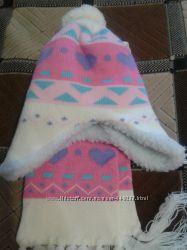 Новый детский комплект шапка и шарфик на девочку 3-6 лет