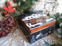 Шкатулка  Новогодие домики
