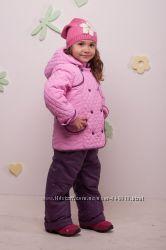Стеганный комплект куртка и комбинезон для девочки