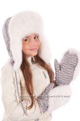 Зимняя шапка для девочки с принтом