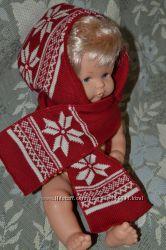Тепла шапочка з шарфом для малечі