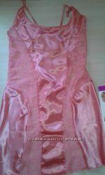 Шелковый комплект сорочка и стринги AHU Турция коралл
