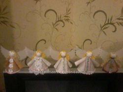 Ангелочки, ангелы, игрушки ёлочные игрушки, хенд мей