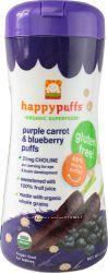 Безглютэновые, органические фруктово-овощные снеки Happy Baby Puffs, США