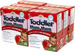 Hot Kid, Toddler mum-mum, клубничное, органическое, рисовое печенье, США