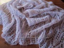 Вязаный ажурный шарф. Ручная работа