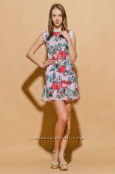 Шифоновое платье с имитацией вышивки