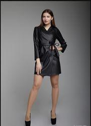 кожаное платье на запах платье из экокожи