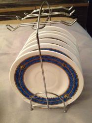 Десертные тарелки 6шт на металлической подставке держателе