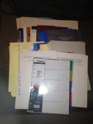 Папки картонные 34шт.  и разделитель страниц пластиковый на 5 рубрик