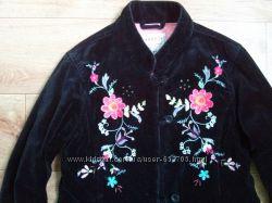 бархатная куртка-пиджак с вышивкой