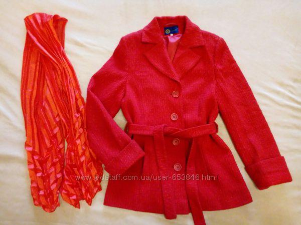 Шерстяное пальто 46 размер, шарф в подарок