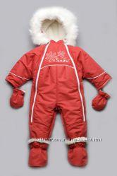 Детский зимний комбинезон-трансформер на меху для девочки красный