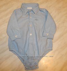Голубая рубашка-боди с собачкой Next