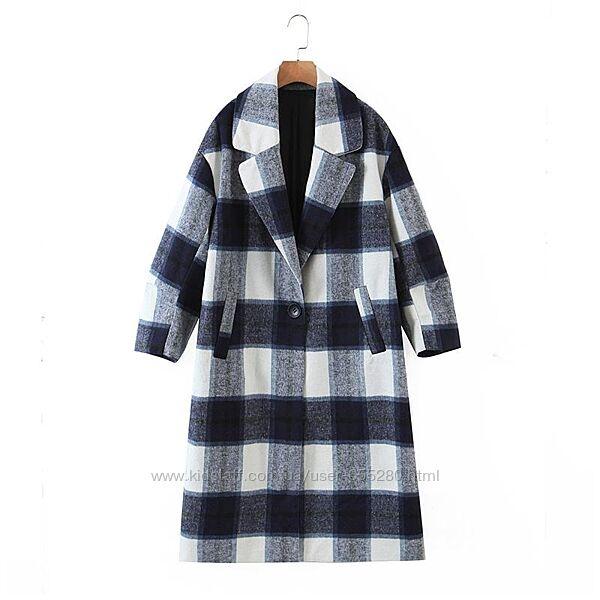 Пальто в клетку клетчастое L50-52 размер