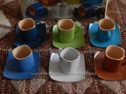 Разноцветные кофейные чашечки 6 шт