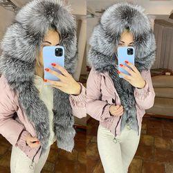 Женская короткая куртка бомпер парка с натуральным мехом, XS-XL