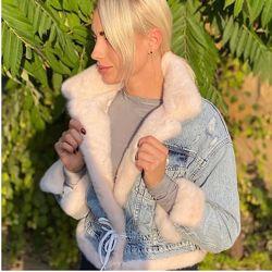 Женская джинсовая куртка джинсовая с норкой, огромный выбор