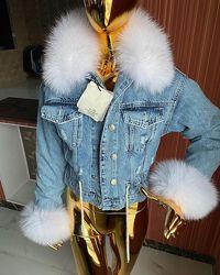 Женские  джинсовые куртки с натуральным мехом песца, огромный выбор