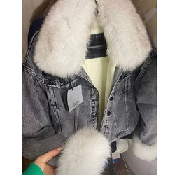 Женские  джинсовые куртки с натуральным мехом, XS-XL