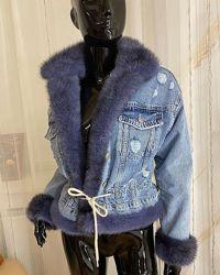 Женская джинсовая куртка с норкой, огромный выбор