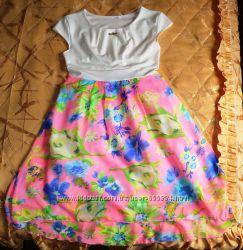 Платье нарядное цветочное шифон, 146 рост