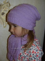 Шапочка-чулок и шарфик ручной работы