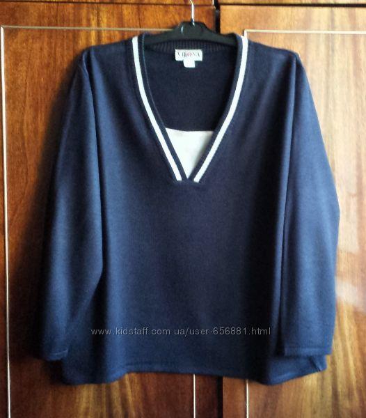 Кофта женская свитер, трикотаж, темно-синяя с белой вставкой. Размер 56