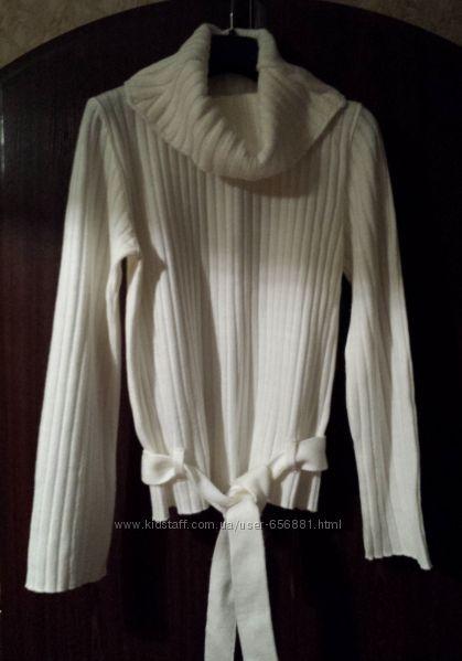 Кофта женская свитер, импортная, белая, с воротником хомут, разм. 46