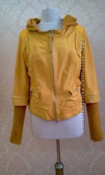 Куртка-трансформер кожанная ярко-желтая