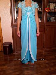 Новое бирюзовое с белым, вечернее платье