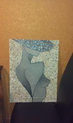 Картина шикарная из ракушек и песка.