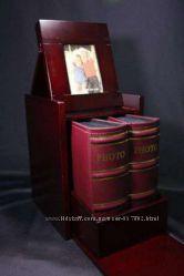 Фотоальбомы 2шт. в шкатулке из красного дерева с фоторамкой