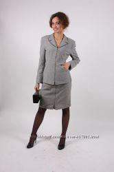Деловой английский костюм юбка-пиджак шерсть 44р
